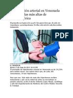 Hipertensión Arterial en Venezuela Es Una de Las Más Altas de Latinoamérica