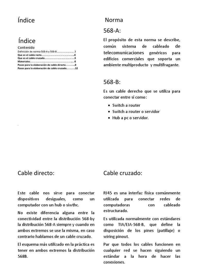 Guia Para La Elaboración De Cable Cruzado Y Recto