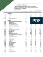 Listado de Insumos Infraestructura Vehicular y Peatonal