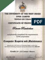 UWI Computer Repairs & Maintainence Certificate