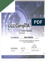 Comptia A+-IT Technican Certificate