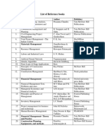 CM List of Reference Books