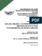 Analisis Mejora y Automatizacion de Metodos Para Fotogramtria de Objeto Cercano