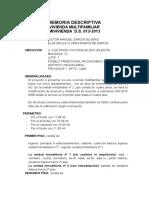 Memoria Descriptiva Modificacion de Proyecto Vivienda Multifamiliar Tolouse Lautrec San Borja