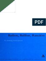 (Continuum Studies in Continental Philosophy) Nick Hewlett-Badiou, Balibar, Ranciere_ Re-thinking Emancipation-Continuum (2007)