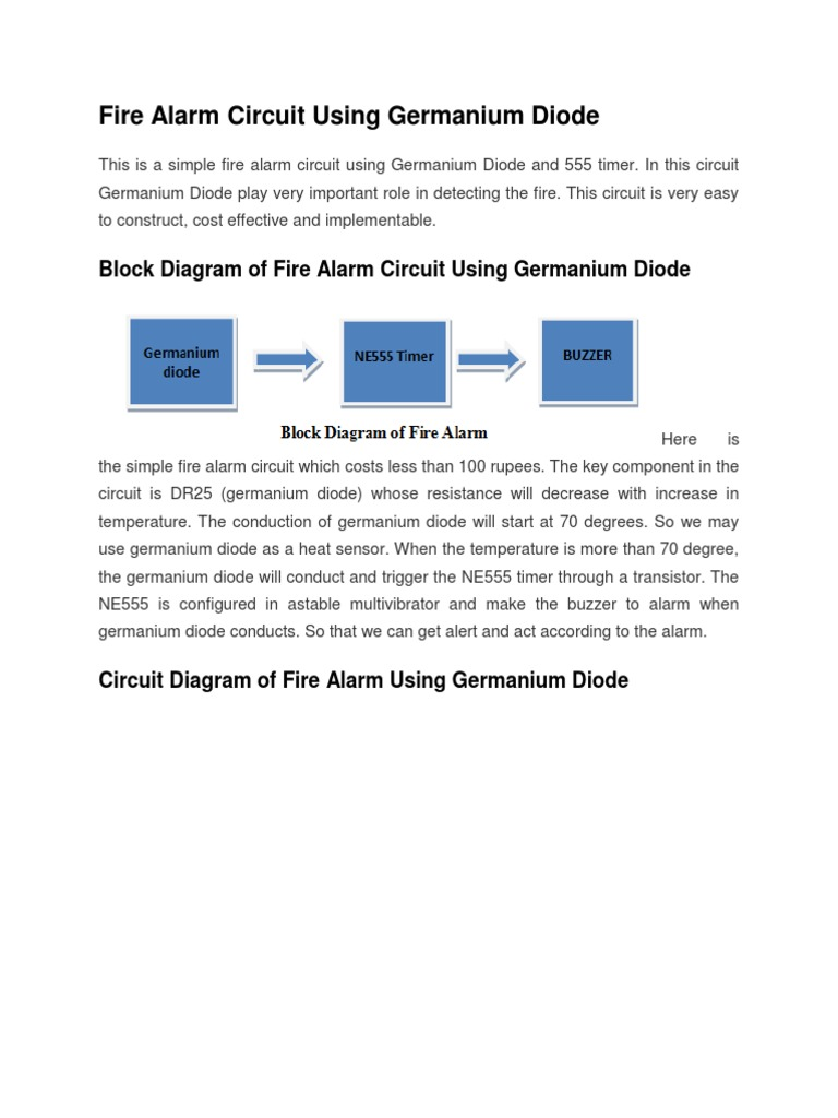 Simple Fire Alarm Circuit Using Germanium Diode Wiring Diagrams Circuits And Lm341 At Low Cost Docx Rh Es Scribd Com