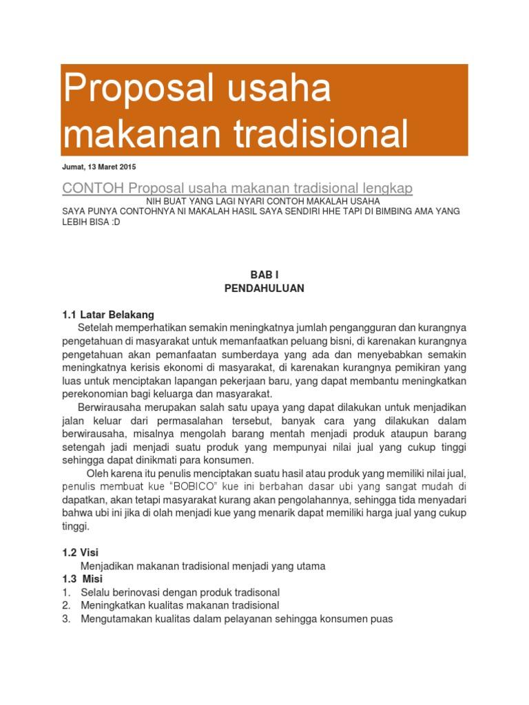 Contoh Proposal Usaha Makanan Tradisional Lengkap