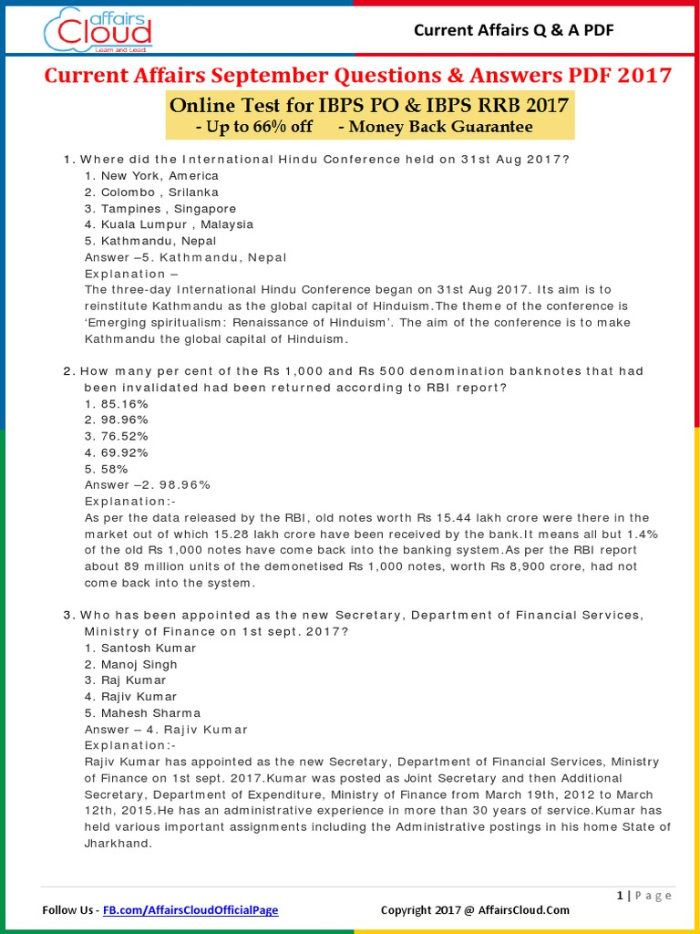 Current Affairs September Question & Answer 2017 PDF by AffairsCloud