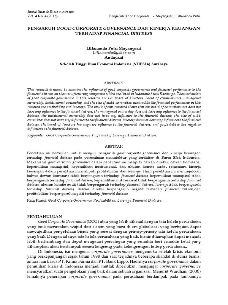 Pengaruh Good Corporate Governance Dan Kinerja Keuangan Terhadap Financial Distress Corporations Statistical Inference