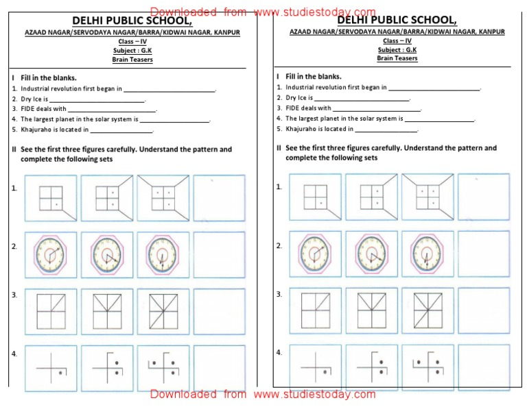 CBSE Class 4 General Knowledge Worksheets (10) - Brain Teasers (1)