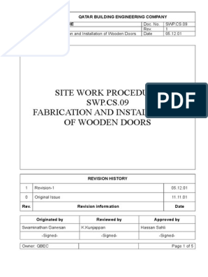 Doors Method Statement | Lumber | Plywood