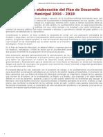 Elaboración Del Plan de Desarrollo Municipal _ Copladem