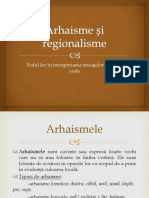Arhaisme și regionalisme