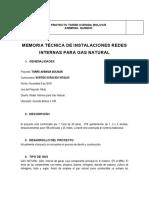 Memorias de Calculo Redes de Gas Proyecto Torre Avenida Bolivar