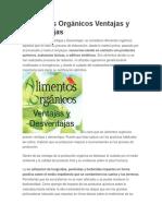 Alimentos Orgánicos Ventajas y Desventajas