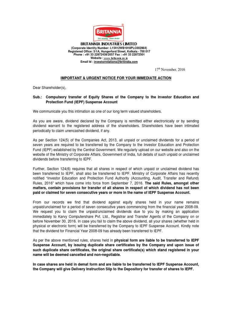 Shareholders List for IEPF Transfer | Dividend | Investor