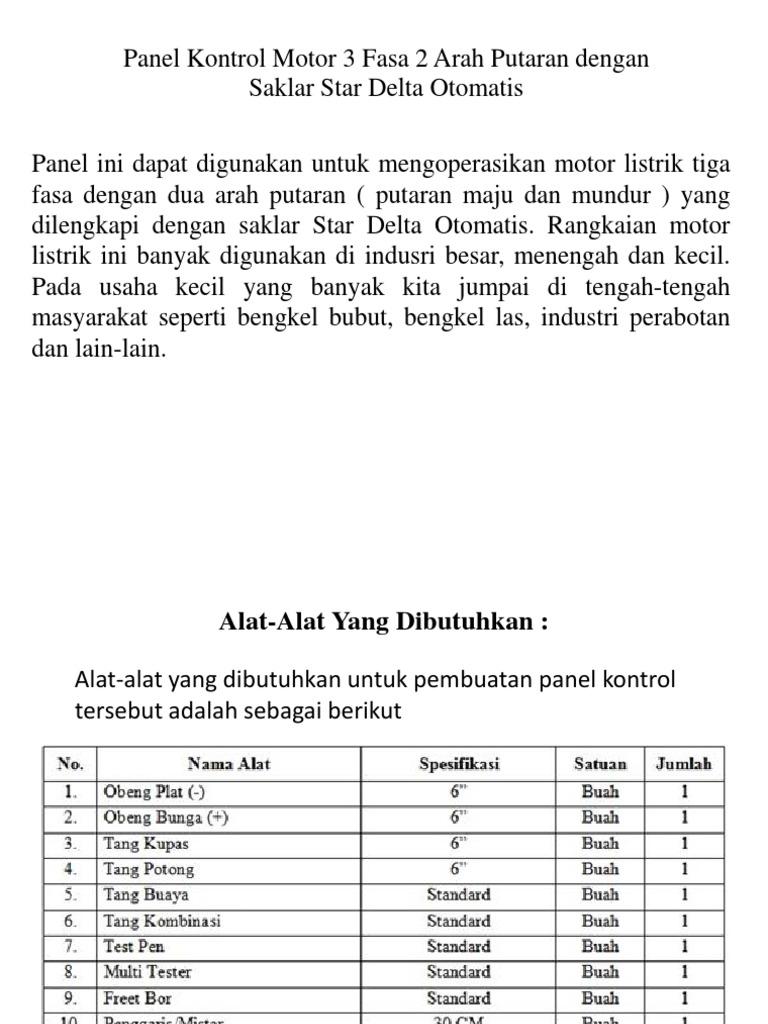 Panel Kontrol Motor Listrik 3 Fasa 2 Arah Putaran
