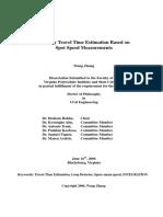 Freeway Travel Time Estimation Based On