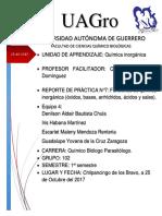 Informe de practica Funciones de química inorgánica (óxidos, bases, anhídridos, ácidos y sales).