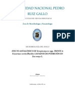 EFECTO ANTAGÓNICO DE Streptomyces spp. FRENTE A Fusarium verticillioides CAUSANTE DE PUDRICIÓN EN Zea mays