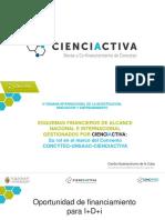 Esquemas Financieros de Alcance Nacional e Internacional Gestionados Por Cienciactiva