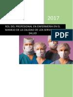 Rol Del Profesional en Enfermeria en El Manejo de La Calidad de Los Servicios de Salud