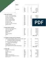 Bill of Materials (Hydraulics)