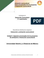 CIAS_Unidad 3. Aspectos Procesuales de Los Proyectos de Animación e Interacción Sociocultural