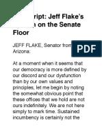 Transcript- Jeff Flake's Speech on the Senate Floor