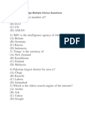 General Knowledge Multiple Choice Questions | International