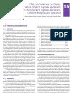 15. Otras inclusiones dentarias. Mesiodens y otros dientes supernumerarios. Dientes temporales supernumerarios. Dientes temporales incluidos.pdf