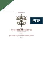 1570 - Pío V - Constitución apostólica - bula papal  sobre el uso a perpetuidad de la Misa Tridentina QUO PRIMUM TEMPORE