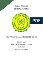 Tugas Individu Teori Manajemen Julian m Al Fauzan(2017320223)