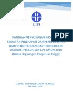 Panduan Proposal IPTEKDA LIPI 2016
