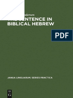 The Sentence in Biblical Hebrew