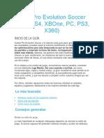 Guía Pro Evolution Soccer 2018