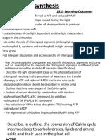 Photosynthesis  A2 Summarized Notes