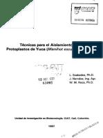 CIAT COLOMBIA 000169 Técnicas Para El Aislamiento y Cultivo de Protoplastos de Yuca