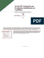 Projeto Do DF é Pioneiro No Uso de Plantas Medicinais Na Saúde Pública
