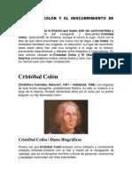 Cristóbal Colon y El Descubrimiento de América