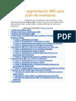 Análisis o Segmentación ABC Para La Clasificación de Inventarios