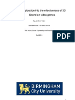An Exploration Into the Effectiveness of 3D Sound on Video Games