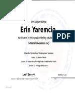 erin yaremcio ww certificate