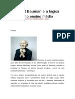 Zygmunt Bauman e a Lógica Escolar No Ensino