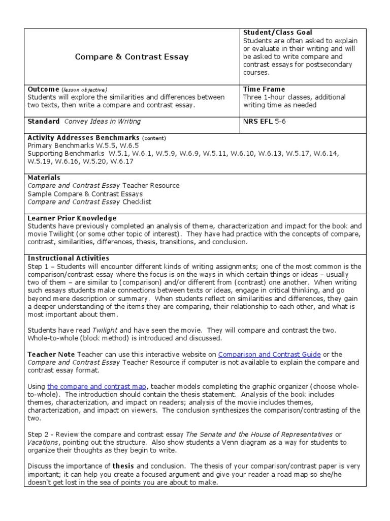 Write Compare Contrast Essay | United States House Of Representatives |  United States Senate