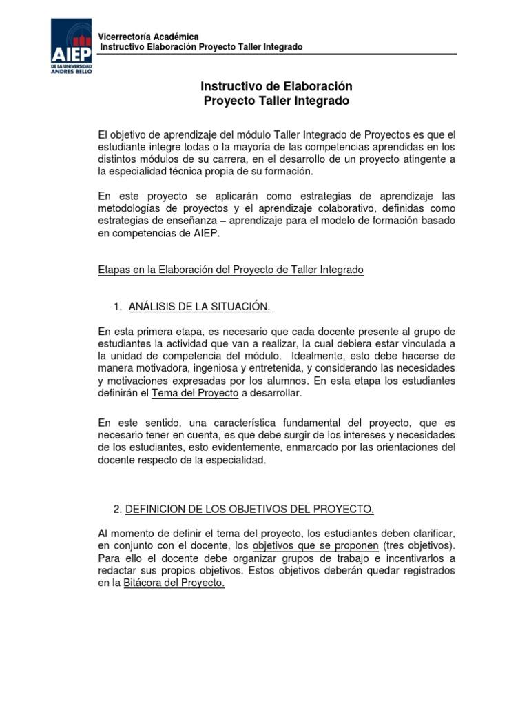 Instructivo Para La Elaboraci N Proyecto Taller Integrado Pdf