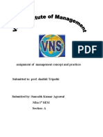 Assignment of Management Concept and Practices