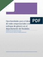 Oportunidades Redes Empresariales Enfoque Genero 2014