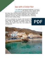 Sfakia, Holidays With a Cretan Flair