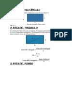 Áreas de Polígonos Principales Como Triángulos, Cuadrado, Rectángulo, Rombo
